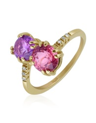 Forzieri Double Gemstone And Diamond Yellow Gold Ring Purple