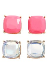 Women's Bp. Square Stud Earrings Set Of 2 Pink Ivory