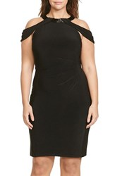 Lauren Ralph Lauren Plus Size Women's Beaded Neck Off The Shoulder Jersey Sheath Dress
