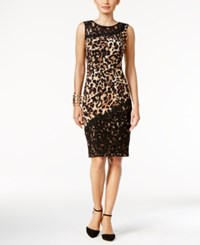 Thalia Sodi Lace Trim Printed Sheath Dress Only At Macy's Leopard