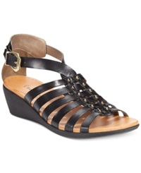 Bare Traps Mallery Flat Wedge Sandals Women's Shoes Black
