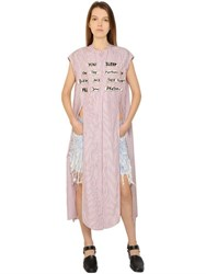 Each X Other Poem Patches Cotton Shirt Dress