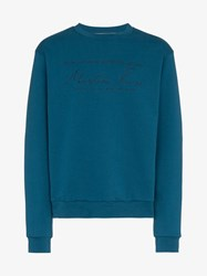 Martine Rose Long Sleeve Logo Embroidered Sweater Blue