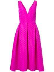 Lela Rose Polka Dot Dress Women Silk 6 Pink Purple
