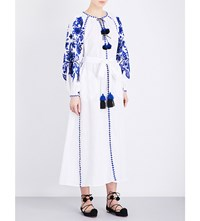March 11 Floral Embroidered Linen Maxi Dress White Blue
