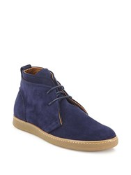 Saks Fifth Avenue Collection Double Layer Suede Chukka Boots Royal Blue