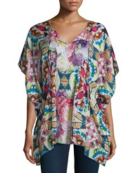 Johnny Was Short Sleeve Floral Print Silk Poncho Multi