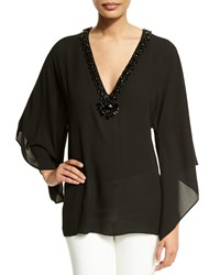 Michael Kors Embellished V Neck Tunic Black