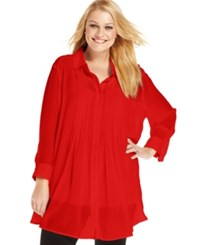 Alfani Plus Size Three Quarter Sleeve Pintucked Blouse New Red Amore