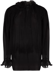 Magda Butrym Oversized Ruffle Trimmed Silk Blouse 60