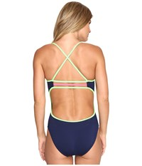 Tyr Solids Brites Trinityfit One Piece Navy Green Pink Women's Swimsuits One Piece Multi