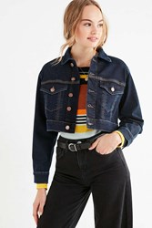 Urban Outfitters Uo Boyfriend Cropped Denim Trucker Jacket Indigo