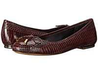 Michael Kors Odette Bordeaux Shiny Abs Genuine Snake Nappa Women's Flat Shoes Brown