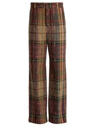 Chloe Wide Leg Wool Blend Tweed Trousers Multi