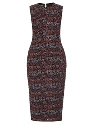 Rochas Sleeveless Matelasse Jacquard Midi Dress Black Multi