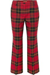 Michael Kors Collection Cropped Tartan Wool Straight Leg Pants Red