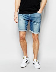 Asos Skinny Denim Shorts In Light Wash Light Blue