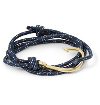 Miansai Rope And Gold Plated Anchor Bracelet Blue
