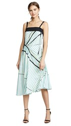 Cedric Charlier Asymmetrical Strap Midi Dress Blue Stripe