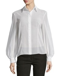 Michael Kors Bishop Sleeve Button Front Blouse Optic White