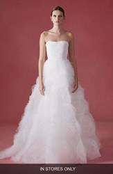 Women's Oscar De La Renta 'Fleur' Faille And Tulle Rosette Strapless Ballgown In Stores Only