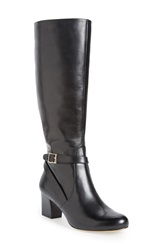 Trotters 'Peaches' Boot Women Wide Calf Black Leather