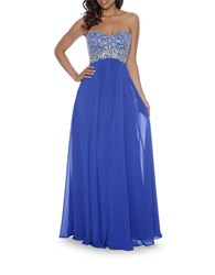 Decode 1.8 Plus Embellished Strapless Gown Royal
