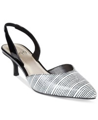 Impo Elate Slingback Pumps Women's Shoes White Black Stripe
