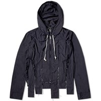 Comme Des Garcons Homme Plus Garment Treated Cut Hooded Jacket Blue