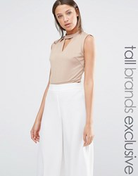Alter Tall Sleeveless Jersey Body With Keyhole Detail Camel Brown
