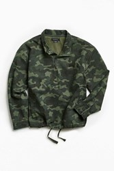Urban Outfitters Uo Half Zip Camo Mock Neck Popover Shirt Green Multi