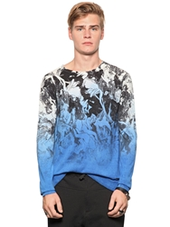 Richmond Gradient Printed Silk And Cotton Sweater Blue