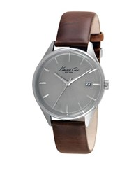 Kenneth Cole Stainless Steel And Leather Strap Watch 10029305 Brown