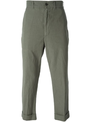 Lardini Cropped Chino Trousers Green