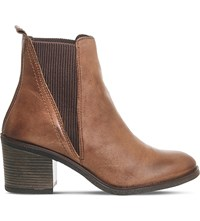 Office Lasoo Mid Heel Chelsea Boots Brown Leather