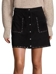 Rebecca Minkoff Rockin Suede Grommet Detail Mini Skirt Black