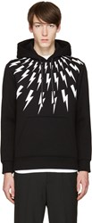 Neil Barrett Black And White Thunderbolt Hoodie