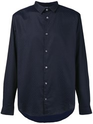 Emporio Armani Basic Patterned Shirt Blue