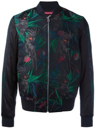 Paul Smith Ps By Macaw Print Bomber Jacket Men Cotton Polyester Rayon Wool L Black
