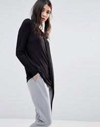 Y.A.S Drape Detail Long Sleeve Top Black