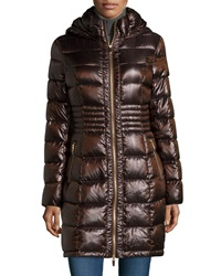 Via Spiga Long Sleeve Packable Quilted Coat Copper