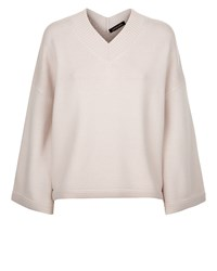 Jaeger Wool V Neck Slouchy Sweater Pink
