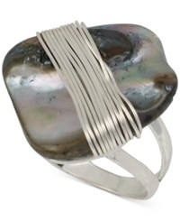 Robert Lee Morris Soho Silver Tone Wire Wrapped Stone Statement Ring