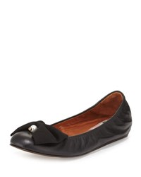 Lanvin Pearly Bow Ballerina Flat Black