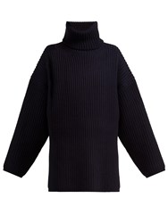 Acne Studios Ribbed Knit Roll Neck Wool Sweater Navy