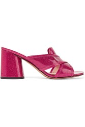 Marc Jacobs Aurora Glittered Patent Leather Mules Fuchsia