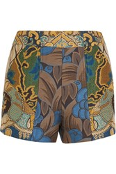 Etro Patchwork Jacquard Shorts Blue