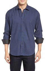 Bugatchi Men's Classic Fit Gingham Sport Shirt Navy