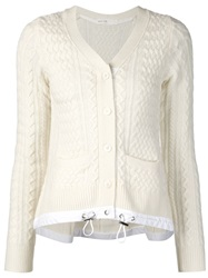 Sacai Luck Cable Knit Cardigan White