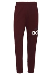 Adidas Performance Essentials Tracksuit Bottoms Maroon White Bordeaux